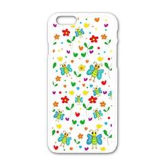Cute Butterflies And Flowers Pattern Apple Iphone 6/6s White Enamel Case by Valentinaart