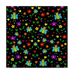 Butterflies And Flowers Pattern Face Towel by Valentinaart