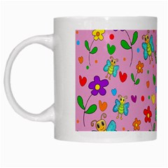 Cute Butterflies And Flowers Pattern   Pink White Mugs by Valentinaart