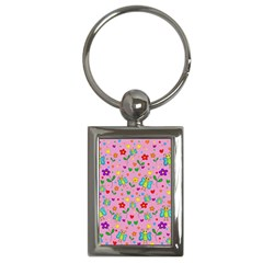 Cute Butterflies And Flowers Pattern   Pink Key Chains (rectangle)  by Valentinaart