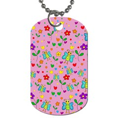 Cute Butterflies And Flowers Pattern   Pink Dog Tag (two Sides) by Valentinaart