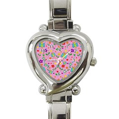 Cute Butterflies And Flowers Pattern   Pink Heart Italian Charm Watch by Valentinaart