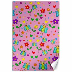 Cute Butterflies And Flowers Pattern   Pink Canvas 20  X 30