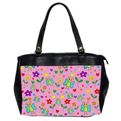 Cute Butterflies And Flowers Pattern   Pink Office Handbags (2 Sides)  by Valentinaart