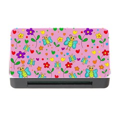 Cute Butterflies And Flowers Pattern   Pink Memory Card Reader With Cf by Valentinaart