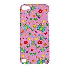 Cute Butterflies And Flowers Pattern   Pink Apple Ipod Touch 5 Hardshell Case by Valentinaart
