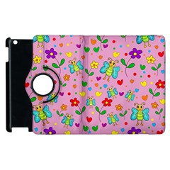 Cute Butterflies And Flowers Pattern   Pink Apple Ipad 2 Flip 360 Case by Valentinaart