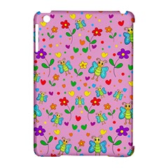 Cute Butterflies And Flowers Pattern   Pink Apple Ipad Mini Hardshell Case (compatible With Smart Cover) by Valentinaart