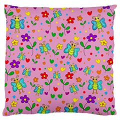 Cute Butterflies And Flowers Pattern   Pink Large Flano Cushion Case (two Sides) by Valentinaart