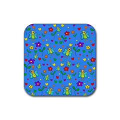 Cute Butterflies And Flowers Pattern   Blue Rubber Square Coaster (4 Pack)  by Valentinaart