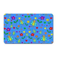 Cute Butterflies And Flowers Pattern   Blue Magnet (rectangular) by Valentinaart