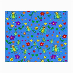 Cute Butterflies And Flowers Pattern   Blue Small Glasses Cloth by Valentinaart