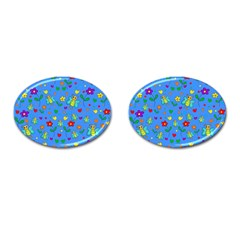 Cute Butterflies And Flowers Pattern   Blue Cufflinks (oval) by Valentinaart