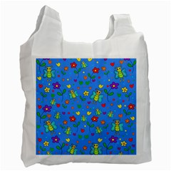 Cute butterflies and flowers pattern - blue Recycle Bag (Two Side)  by Valentinaart