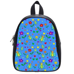Cute Butterflies And Flowers Pattern   Blue School Bags (small)  by Valentinaart