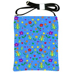 Cute Butterflies And Flowers Pattern   Blue Shoulder Sling Bags by Valentinaart