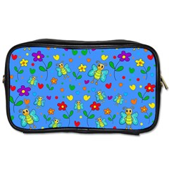Cute Butterflies And Flowers Pattern   Blue Toiletries Bags by Valentinaart