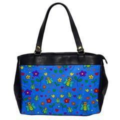 Cute Butterflies And Flowers Pattern   Blue Office Handbags by Valentinaart