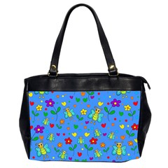 Cute Butterflies And Flowers Pattern   Blue Office Handbags (2 Sides)  by Valentinaart