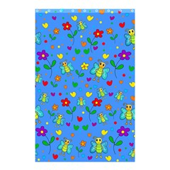 Cute Butterflies And Flowers Pattern   Blue Shower Curtain 48  X 72  (small)  by Valentinaart