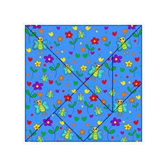 Cute Butterflies And Flowers Pattern   Blue Acrylic Tangram Puzzle (4  X 4 ) by Valentinaart