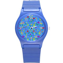 Cute Butterflies And Flowers Pattern   Blue Round Plastic Sport Watch (s) by Valentinaart