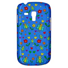 Cute Butterflies And Flowers Pattern   Blue Galaxy S3 Mini by Valentinaart