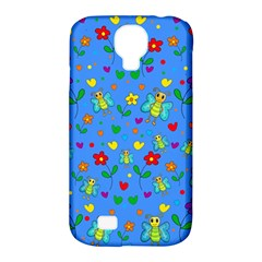 Cute Butterflies And Flowers Pattern   Blue Samsung Galaxy S4 Classic Hardshell Case (pc+silicone) by Valentinaart
