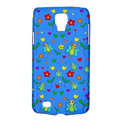 Cute Butterflies And Flowers Pattern   Blue Galaxy S4 Active by Valentinaart