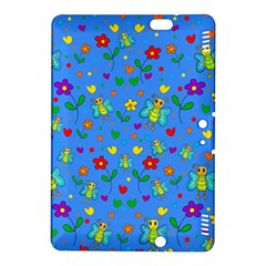 Cute Butterflies And Flowers Pattern   Blue Kindle Fire Hdx 8 9  Hardshell Case by Valentinaart