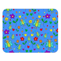 Cute butterflies and flowers pattern - blue Double Sided Flano Blanket (Large)  by Valentinaart