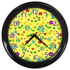 Cute Butterflies And Flowers   Yellow Wall Clocks (black) by Valentinaart