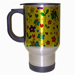 Cute Butterflies And Flowers   Yellow Travel Mug (silver Gray) by Valentinaart