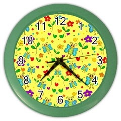 Cute Butterflies And Flowers   Yellow Color Wall Clocks by Valentinaart
