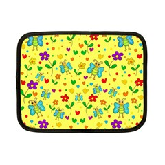 Cute Butterflies And Flowers   Yellow Netbook Case (small)  by Valentinaart