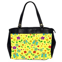 Cute Butterflies And Flowers   Yellow Office Handbags (2 Sides)  by Valentinaart