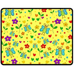 Cute Butterflies And Flowers   Yellow Fleece Blanket (medium)  by Valentinaart