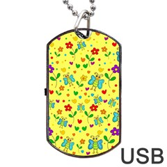 Cute Butterflies And Flowers   Yellow Dog Tag Usb Flash (one Side) by Valentinaart