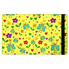 Cute Butterflies And Flowers   Yellow Apple Ipad 2 Flip Case by Valentinaart