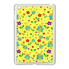 Cute Butterflies And Flowers   Yellow Apple Ipad Mini Case (white) by Valentinaart