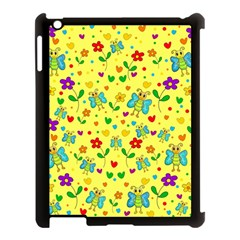 Cute Butterflies And Flowers   Yellow Apple Ipad 3/4 Case (black) by Valentinaart