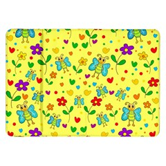 Cute Butterflies And Flowers   Yellow Samsung Galaxy Tab 8 9  P7300 Flip Case by Valentinaart