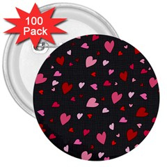 Hearts Pattern 3  Buttons (100 Pack)  by Valentinaart