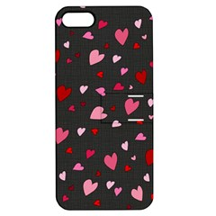 Hearts Pattern Apple Iphone 5 Hardshell Case With Stand by Valentinaart
