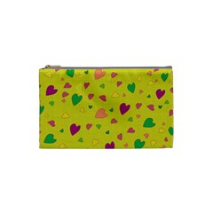 Colorful Hearts Cosmetic Bag (small)  by Valentinaart