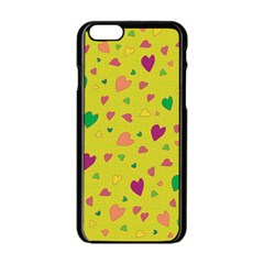 Colorful Hearts Apple Iphone 6/6s Black Enamel Case by Valentinaart