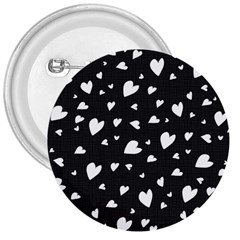 Black And White Hearts Pattern 3  Buttons by Valentinaart
