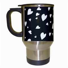 Black And White Hearts Pattern Travel Mugs (white) by Valentinaart
