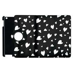 Black And White Hearts Pattern Apple Ipad 3/4 Flip 360 Case by Valentinaart