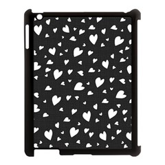 Black And White Hearts Pattern Apple Ipad 3/4 Case (black) by Valentinaart